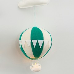 Nightlight Air Balloon Large Teal/Cream (With Bunting)