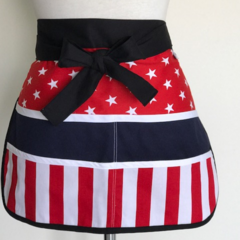 Teacher Apron Red Stripes Six pockets