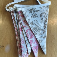 "Pink and brown ""Toile"" bunting"