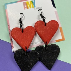 Valentines red and black glitter hearts  dangles