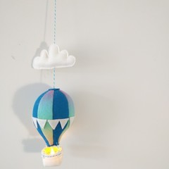 Nightlight Air Balloon Small Blue/Rainbow