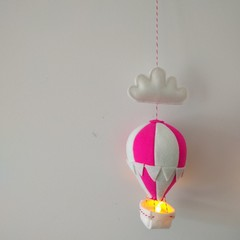 Nightlight Air Balloon Small Pink/White