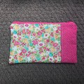 Pink, turquoise and grey flowers purse