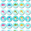 Baby Shark Mini Edible Icing Cupcake Toppers - PRE-CUT Sheet of 30 - EI002MC