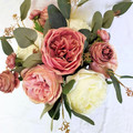 Bridal Bouquet - Dusty Pink Rose Bouquet with Eucalyptus - Groom's Buttonhole