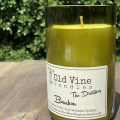 """Bourbon"" soy wax candle in recycled wine bottle"