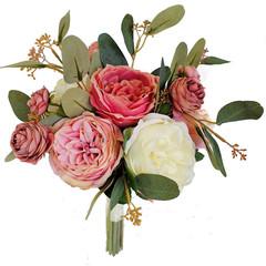 Bridal Bouquet - Dusty Pink Rose Bouquet with Eucalyptus - Groom's Buttonhole