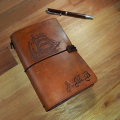 Traveler's Notebook Custom Leather Journal Diary Midori , book cover A6