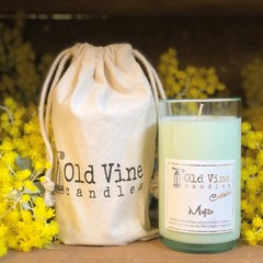 """Mojito"" soy wax candle in recycled wine bottle"