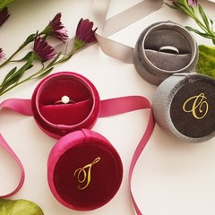Monogram Initial Bride Wedding Ring Box Jewelry Box Velvet