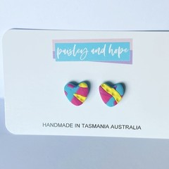 Summer Lovin' polymer clay heart studs
