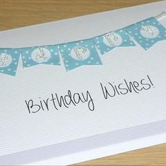 Female Happy Birthday card - green bunting