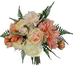 Bridal Bouquet - Artificial Peach Dahlias with Cream Roses & Fern + Buttonhole