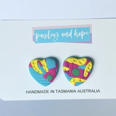 Summer Lovin' polymer clay heart statement studs