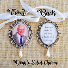 Double sided Antique Silver Wedding Photo Bouquet Charm - Walk with me