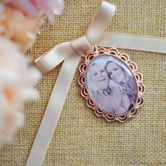 Rose Gold Wedding Photo Bouquet Charm - Walk with me