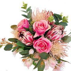 Artificial Pink Australian Native and Rose Bridal Bouquet - Aussie Bride