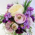 Wedding Bouquet - Purple, Lilac, Ivory Rose Bouquet with Buttonhole
