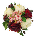 Burgundy, Pink, Ivory Rose Bridal Bouquet -  Artificial Wedding Bouquet