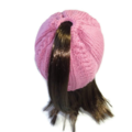 Knitted Pink Ponytail  hat or Messy Bun Hat for small adult or teen.