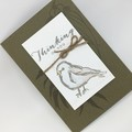 Thinking of You Card - Olive Green, Bird