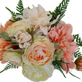 Bridal Bouquet - Artificial Peach Dahlias with Cream Roses & Fern + Buttonhole