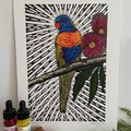 Australian Birds - Rainbow Lorikeet 1/25- Linoprint and Watercolour