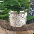 IVY RING. Sterling Silver Open Wide Band Thumb ring. Recycled Silver Ring  (PMC)