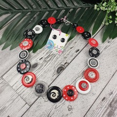 Classic Black White Red - Button Necklace - Button Earrings