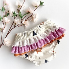 Frilly Nappy Cover - Size 1   Ruffles   Diaper Cover   Toddler   Scandi   Fox