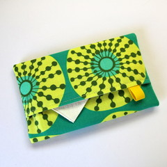 Travel Tissue Case, Pocket Tissue Holder - Yellow Abstract Circles on Green