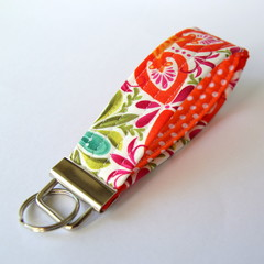 Wrist Key Fob / Key Ring - Orange & Green Florals