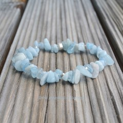 Sterling Silver Gemstone Bracelet Aquamarine Stones Healing Spiritual