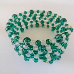Green & White Wrap Bracelet