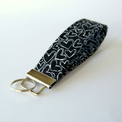 Wrist Key Fob / Key Ring - Hearts on Black