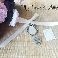 DIY Bouquet Memory Frame Charm Photo Bride Wedding Bridal Flower Antique Silver