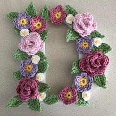 Wooden initial with pastel crochet flowers - large