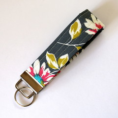 Wrist Key Fob / Keyring - Flowers on Grey