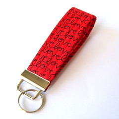 Wrist Key Fob / Keyring - Love on Red