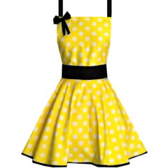 Retro Womens Yellow and Black Polka Dot Cooking Kitchen Apron