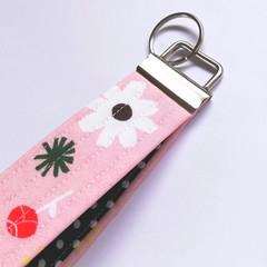 Wrist Key Fob / Key Ring - Pink & Polka Dots