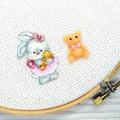 Needle Minder | Ballerina Rabbit & Teddy | Needleminder | Magnet for Cross Stitc