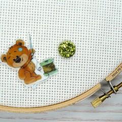 Needle Minder | SEW BEARABLE  Bear #2 | Needleminder | Magnet for Cross Stitch,