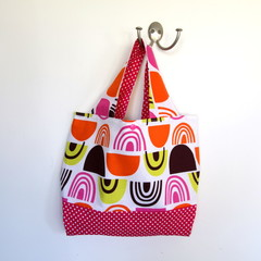 Project Bag, Small Knitting Crochet Craft Carry Bag - Pink and Orange, Polka Dot