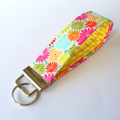 Wrist Key Fob / Key Ring - Spring Flowers