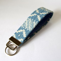 Wrist Key Fob / Key Ring - Boho Denim