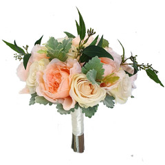Peach Peony & Cream Rose Bridal Bouquet + Buttonhole - Silk Wedding Flowers