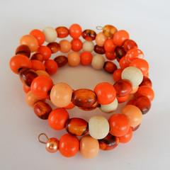 Hand Painted Wood Bead Wrap Bracelet