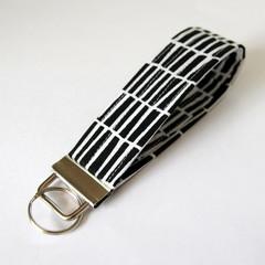 Wrist Key Fob / Keyring - Black & White, Unisex Keychain