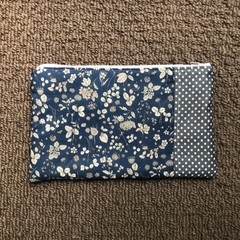 Blue and grey flowers  purse